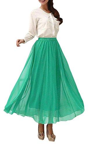 Afibi Womens Chiffon Retro Long Maxi Skirt Vintage Dress (XXX-Large, Powder Blue)