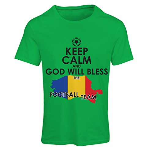 lepni.me N4515F T Shirts For Women Keep Calm and God Will Bless The Romanian Football Team (Small Green Multi - Ireland Website Official
