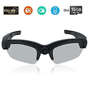 Toughsty 16GB 1080P HD Video Sunglasses Eyewear DV Camcorder Sport Action Camera with 142° Wide View Lens