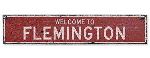 HarrodxBOX Welcome to Flemington Vintage US Flemington, West Virginia Distressed Custom City Sign Retro Metal Sign Wall Decor Art Shop Man Cave Bar Garage Sign (Flemington Shops)