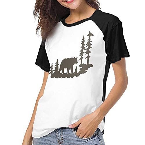 (Women's Short-Sleeve Summer T-Shirts, Woodland Bear Forest Breathable Blouses Tops Black)