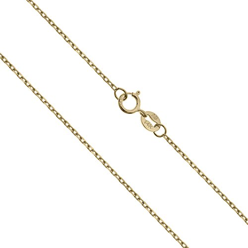 14K Solid Yellow Gold Cable Chain Necklace