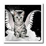 3dRose ht_62893_3 Gray Tabby Cat Angel Sitting on Cloud with a Cute Halo and Angel Wings-Iron on Heat Transfer Paper for White Material, 10 by 10-Inch