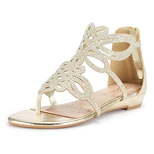 DREAM PAIRS Women's JEWEL-02 Gold Rhinestones Design Ankle High Flat Sandals Size 7.5 M US