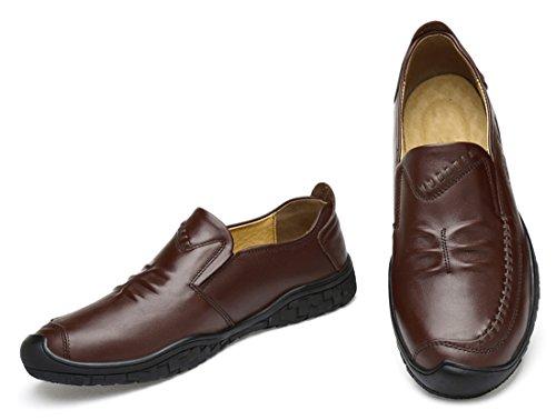 Tda Mens Slip-on Cuir Mi-haut Penny Mocassins Casual Mocassins Week-end Chaussures Brun Foncé