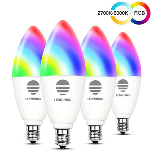 Smart Light Bulbs with White Light 2700k-6000k RGBW – 6W LED Candalabra Bulb E12 Base – 60W Equivalent – WiFi Multicolor Light Bulb – RGB Color Changing Bulb, Works with Google Assistant IFTTT, 4 Pack
