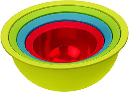 41wrUCVdngL Rotho Caruba 4er-Set bestehend aus 3 Schüsseln und 1 Sieb, Kunststoff (PP) BPA-frei, mehrfarbig, 30,0 x 30,0 x 13,0 cm