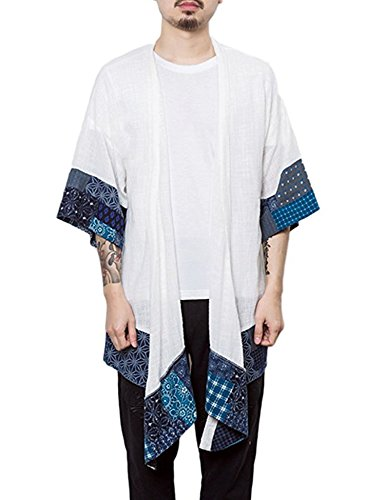 JINIDU Men's Cardigan Lightweight Cotton Kimono Style Cloak Open Front ()