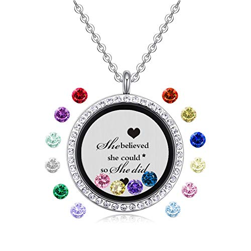 Feilaiger Inspirational Words Necklace, Greetings Words Necklace, Graduation Gifts Floating Charm Living Memory Locket Pendant Necklace with Birthstone (she Believed she did) -