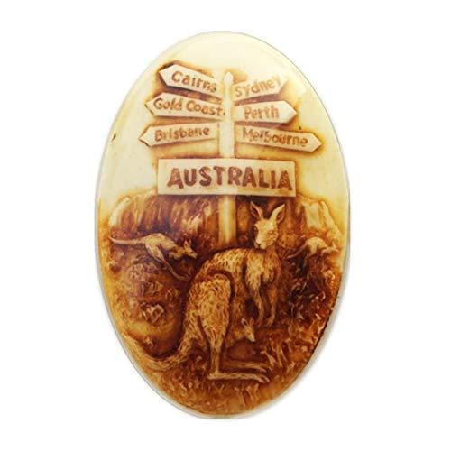 Kangaroo Road Sign (Kangaroo Road sign Australia 3D Refrigerator Fridge Magnet Travel City Souvenir Collection Kitchen Decoration White Board Sticker Resin)