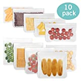 : Reusable Storage Bags - 10 Pack Leakproof Freezer Bags (5 Reusable Sandwich Bags & 5 Reusable Snack Bags) - PEVA Ziplock Bags for Food, Lunch, Make-up, Travel Storage, Home Organisation