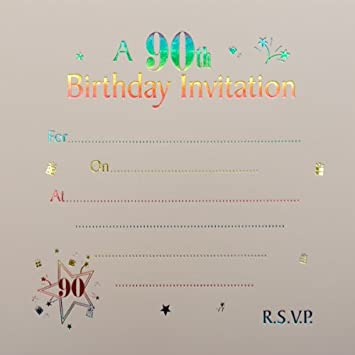 90th birthday invitations 10 pack amazon office products 90th birthday invitations 10 pack filmwisefo Choice Image