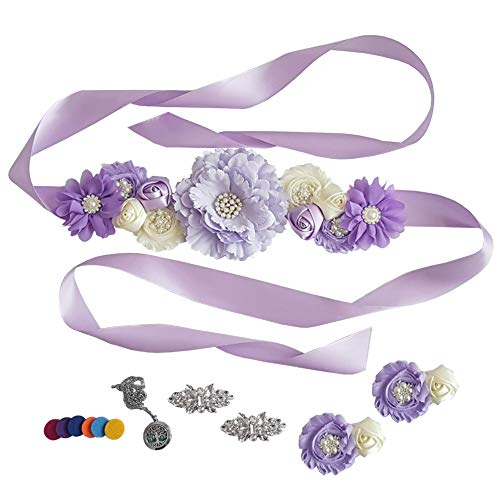 (Baby Shower Maternity Floral Sash with Matching Wrist Corsage + Shoe Clips + Aromatherapy Necklace (Purple Set of 4))