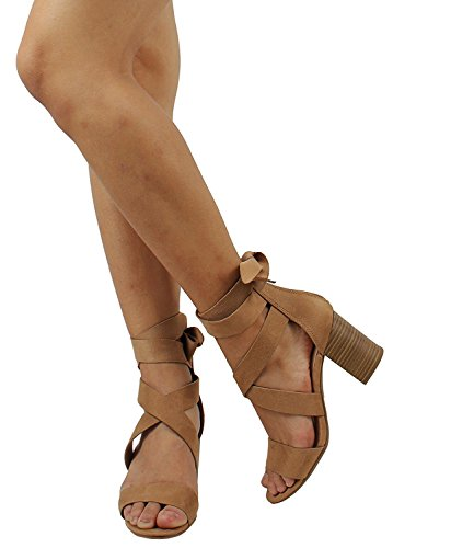 Cambridge Select Womens Open Toe Crisscross Strappy Ankle Tie Chunky Stacked Block Heel Sandal Camel Imsu vtsnYTB
