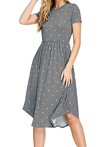 (LaLaLa Women's Summer Short Sleeve Empire Waist Pleated Swing Dresses (Gray,M))
