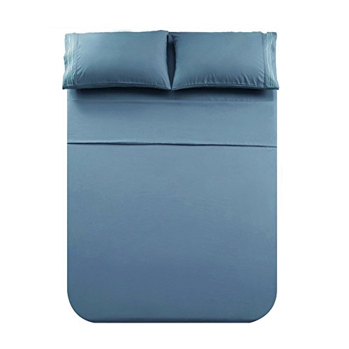 Honeymoon Microfiber Embroidered Queen Bed Sheet Set, Soft and Luxury, Blue - Embroidered Fitted Sheet