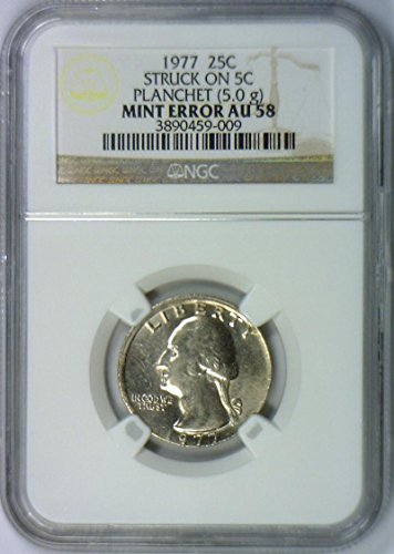 1977 No Mintmark Washington Struck on 5C Planchet (5.0g) Mint Error Quarter AU-58 NGC - Washington Quarter Mintmark