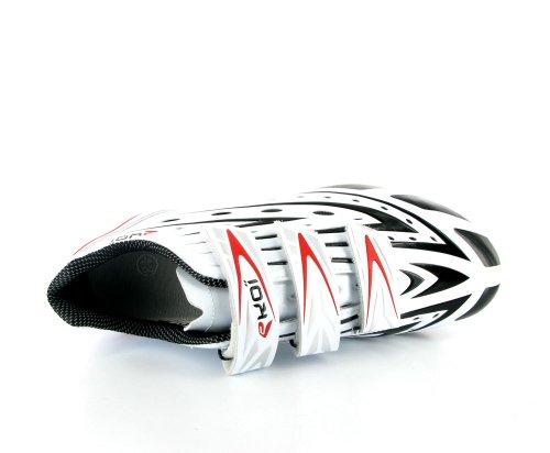 "Chaussure Cyclisme Vélo Route avec semelle carbone ""World Tour Ultralight"" - blanc/noir EKOI by Jollywear"