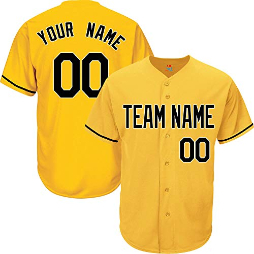 (Yellow Custom Baseball Jersey for Men Button Down Embroidered Team Player Name & Numbers,Black-White Size M)