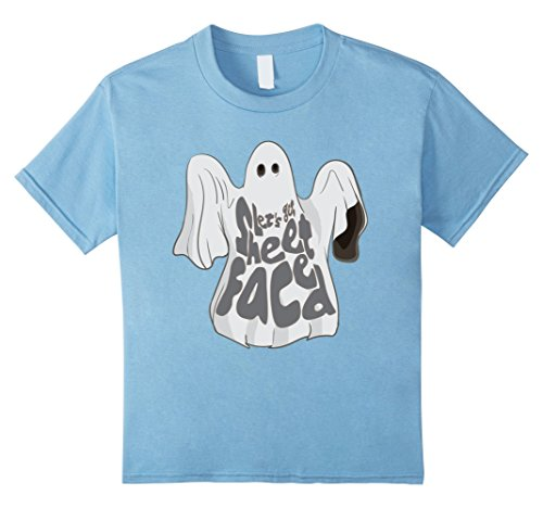 Kids Let's Get Sheet Faced Funny Cute Halloween Ghost T-Shirt 6 Baby Blue