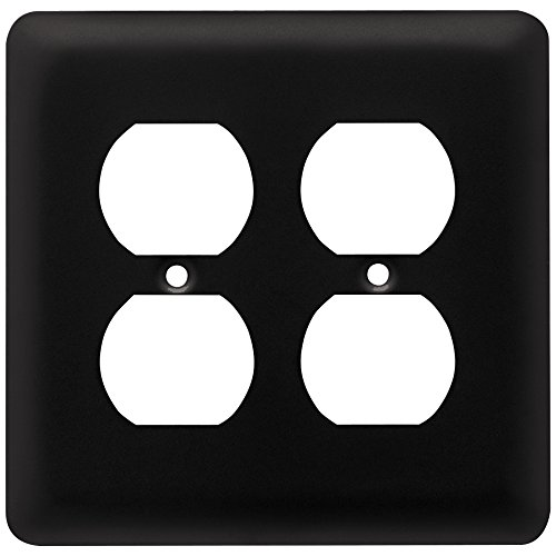 Franklin Brass W10250-FB-C Stamped Round Double Duplex Wall Plate/Switch Plate/Cover, Flat Black