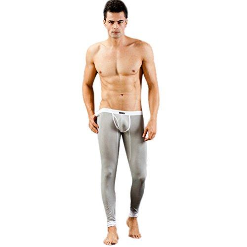 Soly Tech Men Low Rise Modal Underwear Warm Long Johns Thermal Pants Trousers Gray