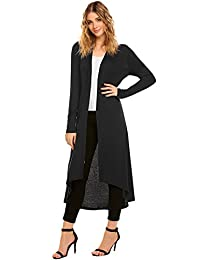 Women's Lightweight Long Sleeve Waterfall High Low Draped Open Long Cardigan