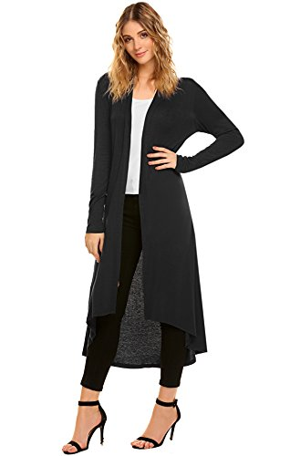 SimpleFun Women's Fall Winter Long Sleeve Waterfall Open Front Long Plus Size Cardigan (XXL, Black) - Long Open Cardigan