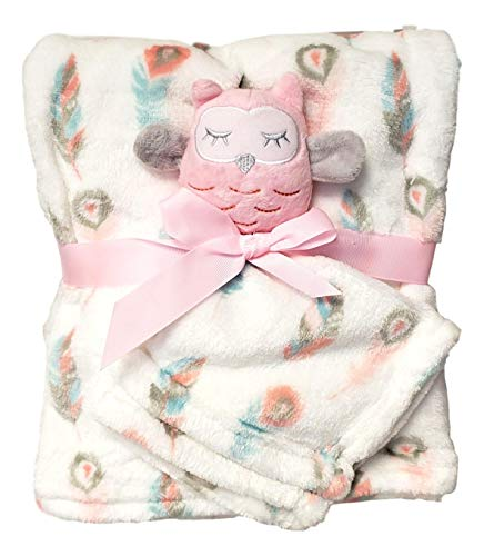 Baby Blanket (30 x 40 inch) with Lovey Security Blanket - Blank No Embroidery Owl