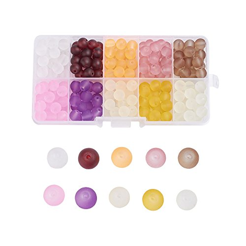 Pandahall 10 Colors Transparent Frosted Glass Beads 6mm Round Loose Spacer Beads About (Czech Glass Frosted Round Beads)