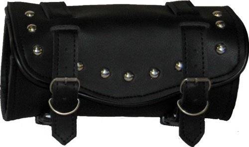 (Synthetic Black Leather Studded 2 Quick Release Buckle Motorcycle Tool Bag)
