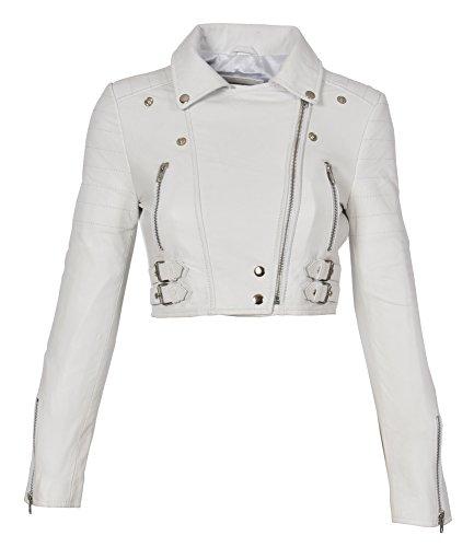 Donna Biker Corto Fit Cropped Stile Of Sottile Cuoio Di Demi House Leather Giacca Bianco Lunghezza pg7x4nEq
