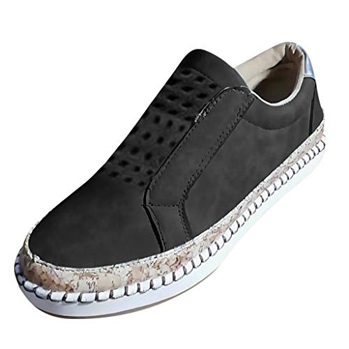 Breathable Walking Flats Shoes for Women, Huazi2 New Hollow Out Casual Sneakers Black ()