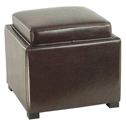 Bobbi Cube Ottoman Color: Brown
