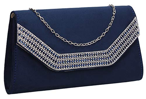 Ladies Bag Suede Womens Harper Navy Faux Clutch SWANKYSWANS Blue Diamante qXx0CnU