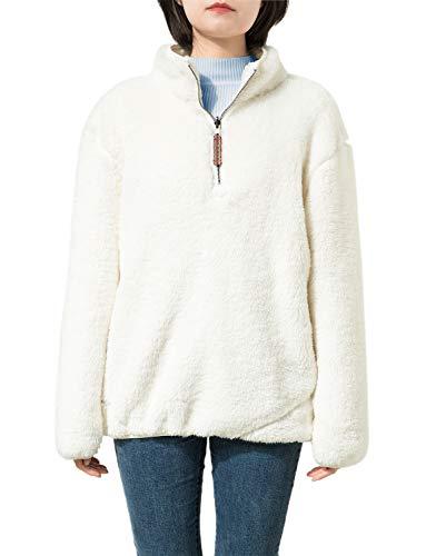 1/4 Jacket Zip Reversible (Jjyee Fleece Sherpa Pullover Womens 1/4 Zip Fleece Fuzzy Sweatshirt Reversible Pullover Long Sleeve Soft Outwear Sweater (White,Large))