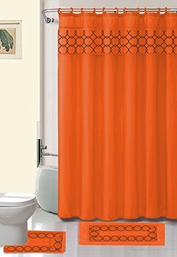 "15 Piece Sandra Embroidery Banded Bath Mat Set Shower Curtain 70""x72"" Inch (Orange)"
