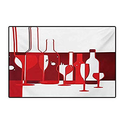 """Wine Door Mats for Home Artistic Modern Design Party Drink Beverage Product with Abstract Display Bath Mat for Bathroom Mat 16""""x24"""" Red Burgundy White"""