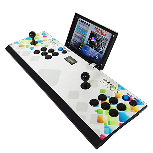 DIY 1080P Arcade Emulator Console Cabinet Metal Casing 10 inch LCD Screen Pandora's Box 3D Classic Neo GBA Geo SNK Video Retro Games Machine Support 3D Game PC/PS with 2448 Games can Charging