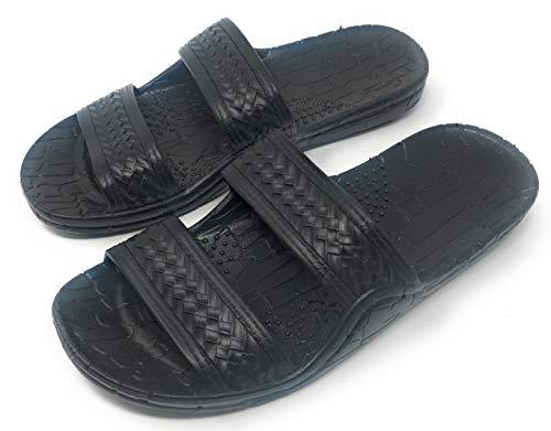Black Rubber Double Strap Jesus Style Imperial Sandals. Unisex Adult Sandal (9 = Women 9 / Men 7)