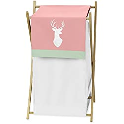 Baby/Kids Clothes Laundry Hamper for Coral, Mint and Grey Woodsy Deer Girls Bedding Sets
