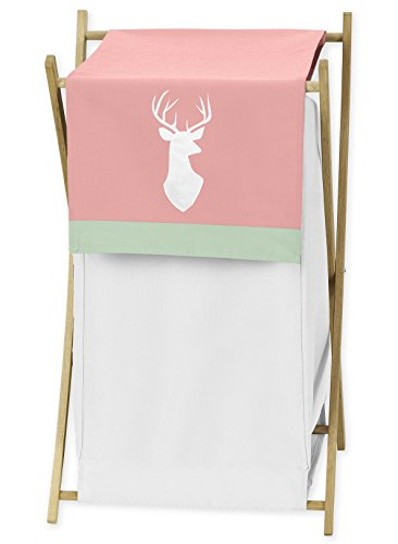Sweet Jojo Designs Baby/Kids Clothes Laundry Hamper for Coral, Mint and Grey Woodsy Deer Girls Bedding Sets