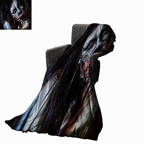 Luckyee Zombie Decor Weave Pattern Extra Long Blanket Scary Dead Woman with Bloody Axe Evil Fantasy Gothic Mystery Halloween Picture 60
