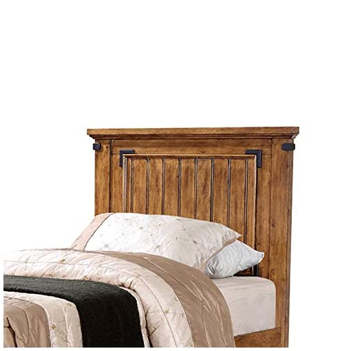 Bedroom Benjara 2 Drawers Twin Bed with Plank Detailing and Metal Accents, Brown farmhouse beds and bed frames