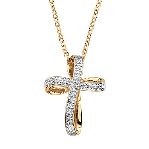 (White Diamond Accent 18k Gold-Plated Pave-Style Looped Cross Pendant Necklace 18