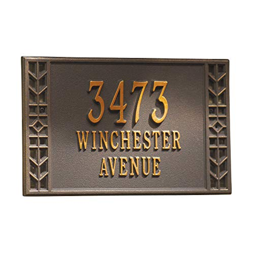 Whitehall Personalized Arts and Crafts House Sign - Custom Indoor/Outdoor Address Plaque - Wall ()