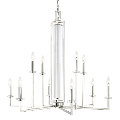 Capital Lighting 411901PN Hudson – Ten Light 2-Tier Chandelier, Polished Nickel Finish with Clear Crystal