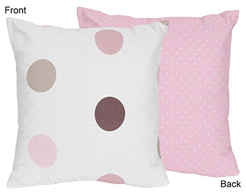 Sweet Jojo Designs Pink and Brown Modern Polka Dots Throw Accent Pillow (And Brown Pink Dot Polka Nursery)