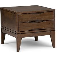 Simpli Home Harper Solid Hardwood End Side Table, Walnut Brown