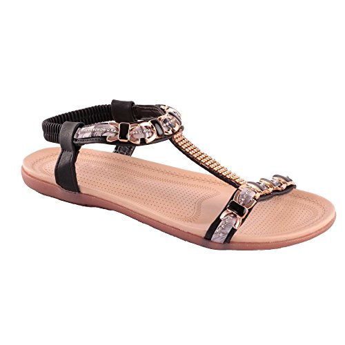 Primtex - Sandalias de vestir para mujer negro
